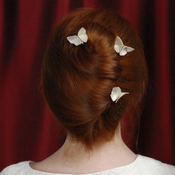 Silk Origami Butterfly Hair Pin Custom Updo by SewSmashing on Etsy, $32.00
