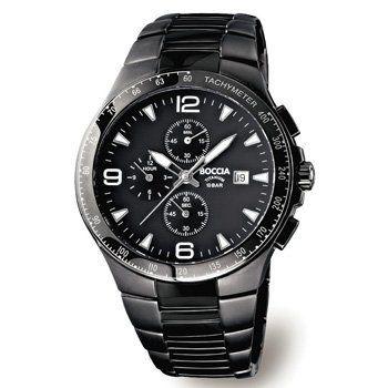 3773-03 Mens Boccia Titanium Chronograph Watch with Tachymeter Boccia Titanium. $325.00. Water-Resistant to 330 feet. Tachymeter. Hypoallergenic. Chronograph. Polished Black 42mm Case