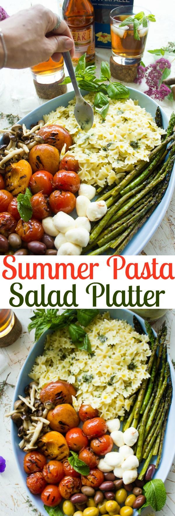 Summer Pasta Salad Platter With Sweet Tea Dressing. This will be our go to BBQ, picnic, potluck and all Summer long favorite! Platter style make your own pasta salad and an amazing herb sweet tea dressing to drizzle, plus get tips for throwing the perfect BBQ party! Ad #SummerTastes http://www.twopurplefigs.com