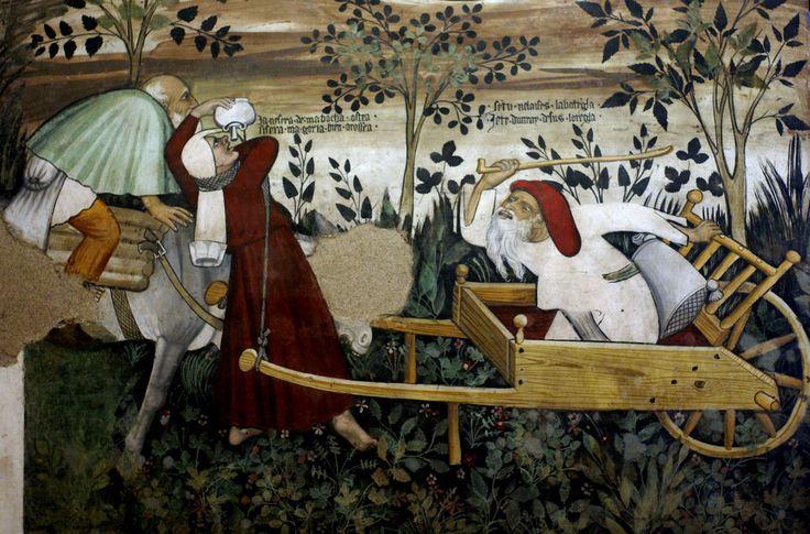 Giacomo Jaquerio (attr. o Maestro di Manta) - Fontana della giovinezza, dettaglio - c. 1420 - affresco - Sala baronale, Castello della Manta, Manta (Cuneo, Piemonte)