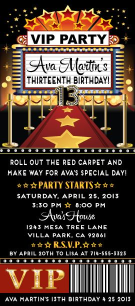 Red Carpet Star Birthday Party Ticket Invitation