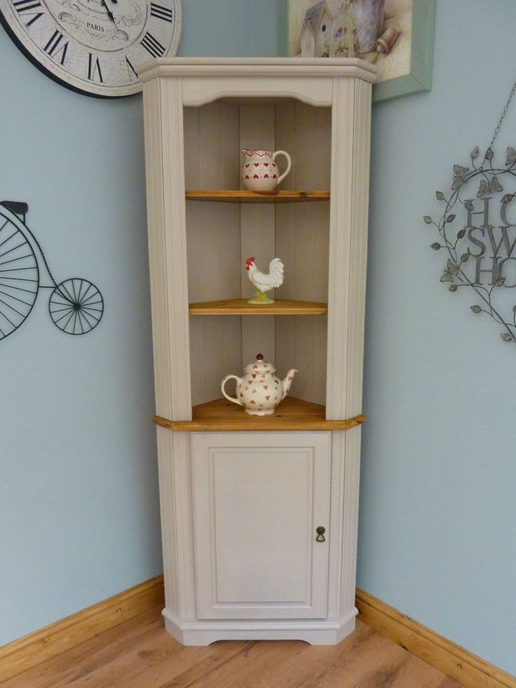 Beautiful Painted Shabby Chic Pine Corner Unit Storage Shelves Cabinet  Dresser