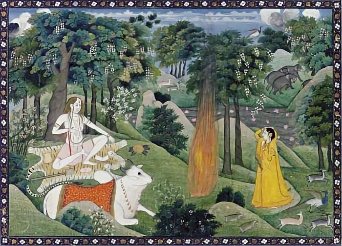 Shiva in an act of immolation India, Kangra, circa 1825-30 Shiva seated at left in a lush forested setting accompanied by Nandi with flames emerging from his third eye, Parvati at right in a yellow dress witnessing the immolation, the surrounding landscape inhabited by deer, elephants, and birds fleeing the scene.