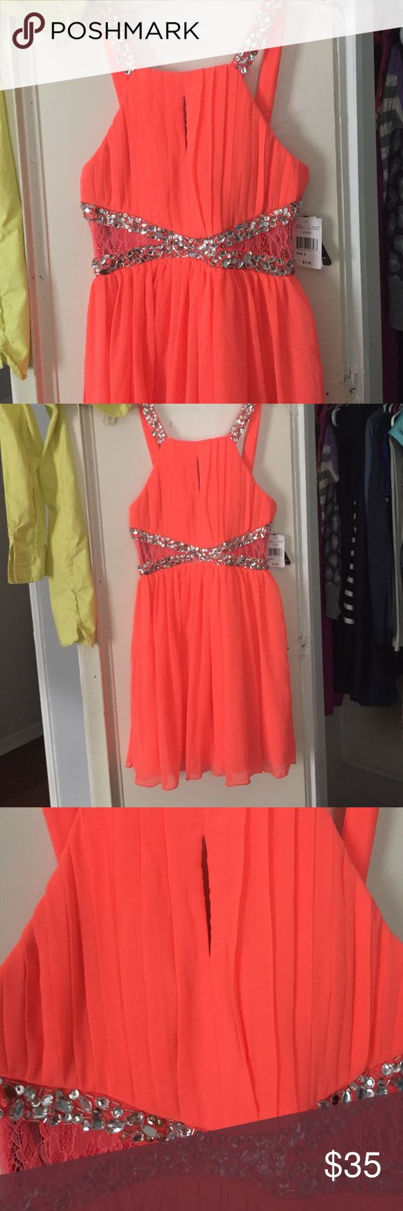 Teen Summer dress Bright orange with mesh cuts in the sides. Rhinestones on straps and under bust. Flowy and fun! Wore once in excellent condition! City Triangles Dresses Mini