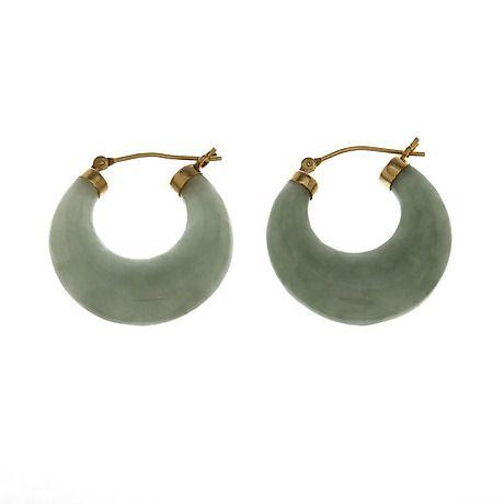 ÖRHÄNGEN, 14k guld med jadeit. Smycken & Ädelstenar - Örhängen – Auctionet