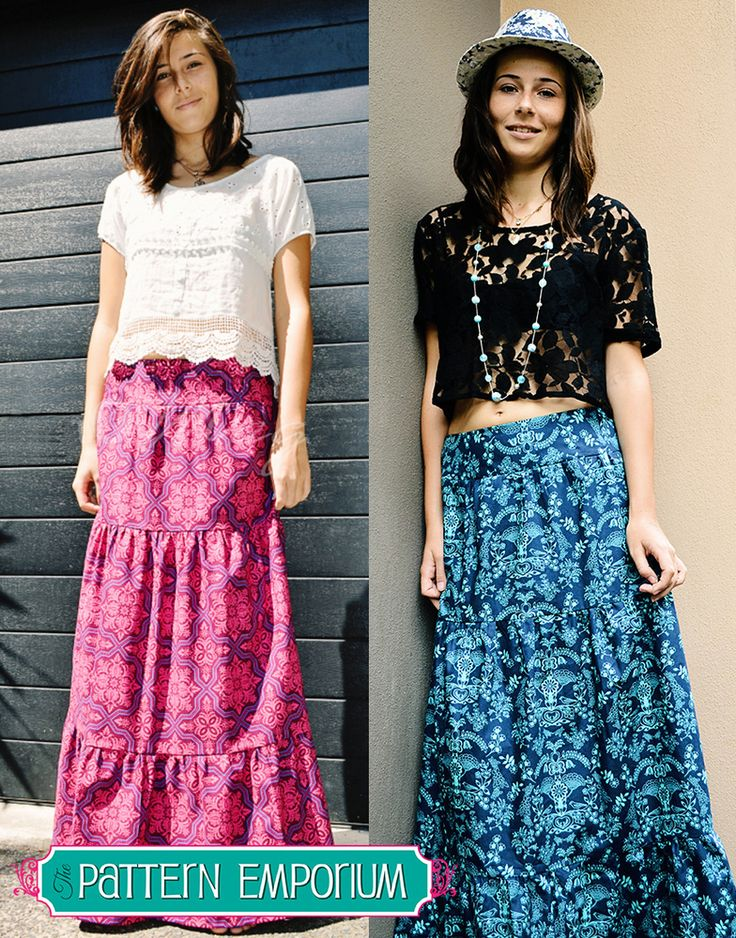 Ladies Tiered Maxi Skirt - flat front waistband & shirred back waistband.