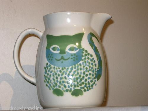 Arabia Kaj Frank Blue Cat Pitcher Ceramic Finland Mid Century Danish Modernist