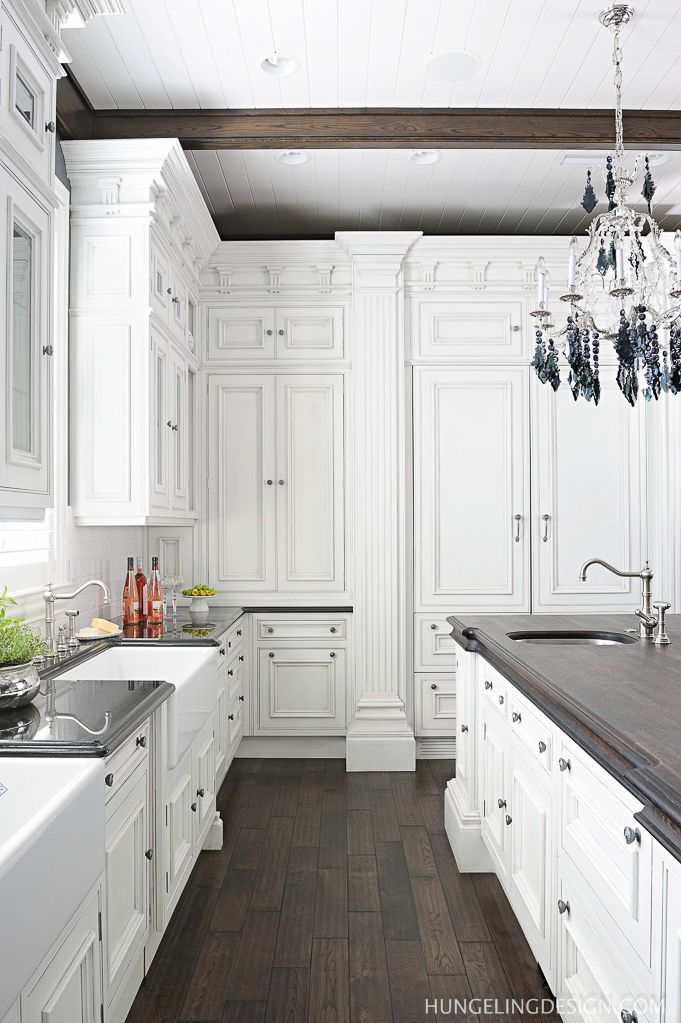 dark floors white cabinets with details wood counter with edgeclive christian luxury kitchen in murray ky by hungeling design - Luxury White Kitchens