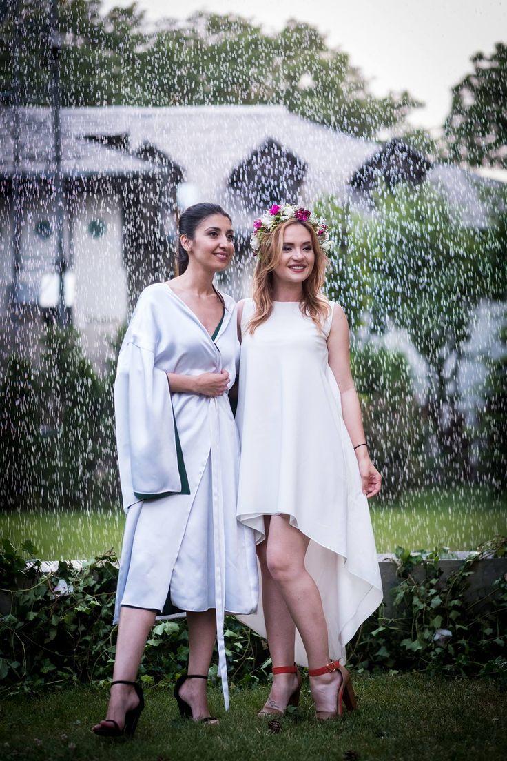 Laura Hîncu and Raluca Muresanu @Silk Essentials Garden Party ^Summer Asymmetric Crepe de chine silk dress