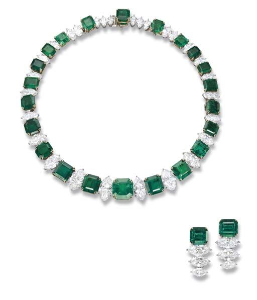 A Magnificent Emerald and Diamond Suite, by Harry Winston   The necklace designed as a line of twenty-two square to octagonal and rectangular-shaped emeralds to the marquise-shaped diamond spacers, detaching to form a necklace of variable length or a bracelet, ear pendants en suite, made in 1967, necklace 38.5 cm long, ear pendants 3.5 cm long, in fitted black leather case