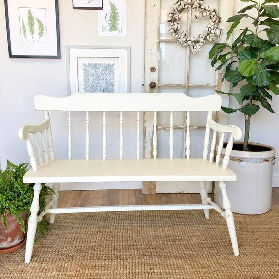 Marvelous Small White Wooden Bench With Spindle Back Farmhouse Bench Theyellowbook Wood Chair Design Ideas Theyellowbookinfo