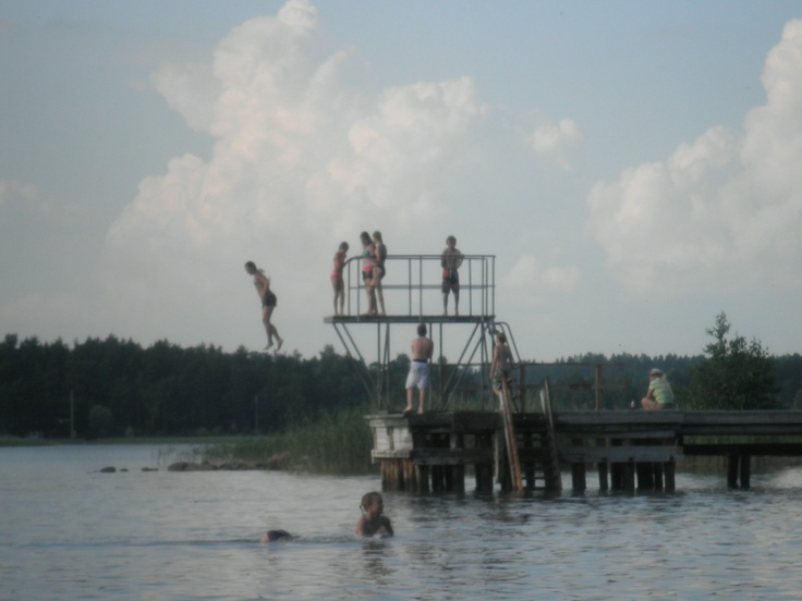 Summer beach in Naantali, Southern Finland. I love those old diving towers