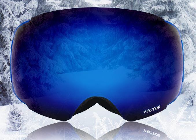 VECTOR Ski Goggles Replaceable Plus Lens Red UV400 Anti Fog Snow Skiing Glasses