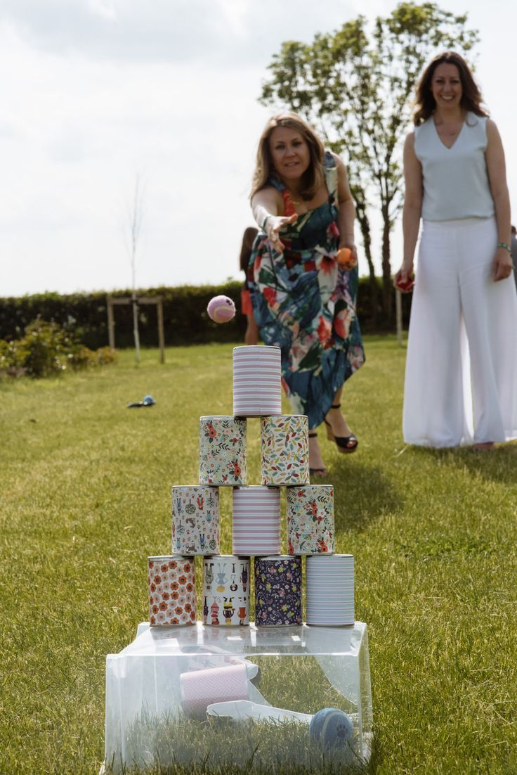 Tin can alley at teepee wedding. Wedding games at Wharfedale GRange