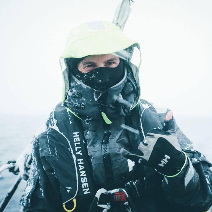 HH Ambassador @ matsgrimseth stays covered up in the adverse conditions of Lofoten.