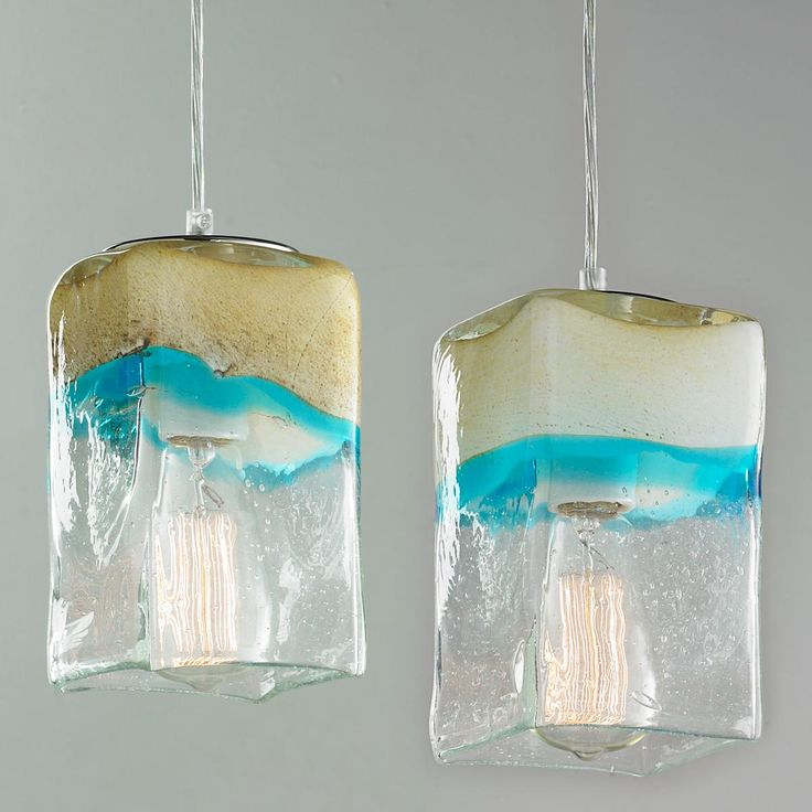 "Sand and Turquoise Square Pendant Light Every Sand and Turquoise Square Pendant Light will be unique but they will all remind you of the beach or desert with colors and textures associated with sand, water and sky. Chrome hardware. 5"" round canopy and 10' of clear pendant cord inlcuded. 60 watts max, medium base socket. (7.5""H x 4.25""W)."