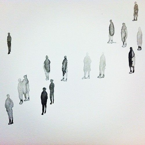 Lovin' these tiny ink-wash people that artist + SFMOMA employee Tim Svenonius painted on our office's wall for the staff art show. There are hundreds of 'em wandering the blank whiteness of the hallway, reminding us to take our time and slow down. :)