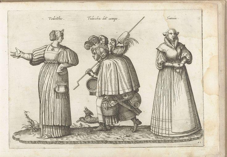 Drie vrouwen, gekleed volgens de Duitse en Zweedse mode, ca. 1580, Bartolomeo Grassi, in of voor 1585