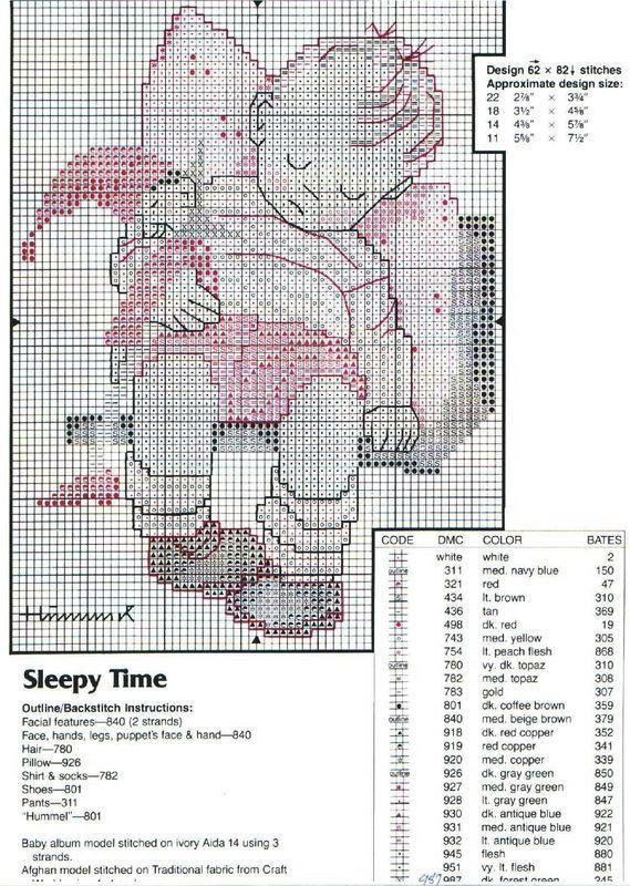 """Sleepy Time"" Hummel cross stitch pattern 1 and symbol key"