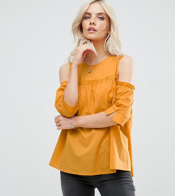 Missguided Petite Cold Shoulder Ruffle Detail Smock Top - Yellow
