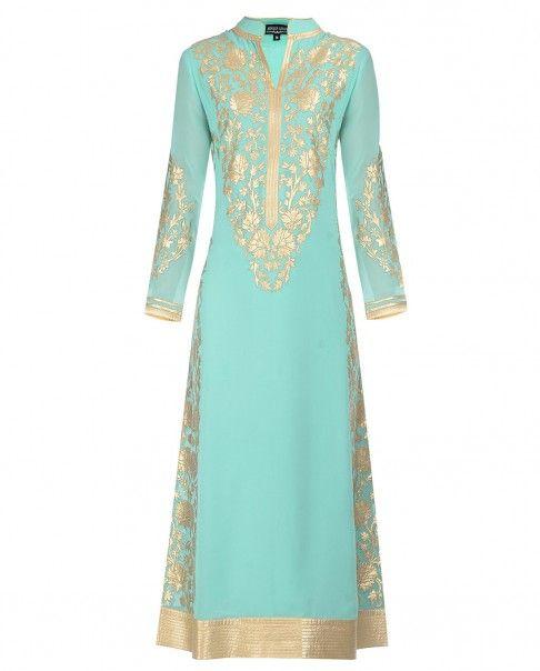 Mint Green Golden Floral Applique Suit