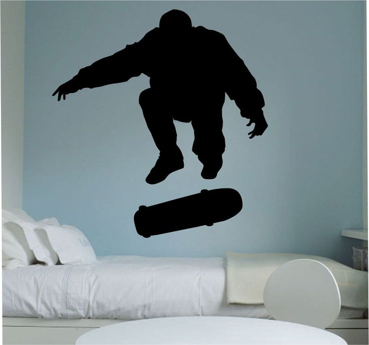 Skater SKateboarder Kick FLip Skateboard Wall Decal Vinyl Sticker Art Decor Bedroom Design Mural interior design by StateOfTheWall on Etsy https://www.etsy.com/listing/223438618/skater-skateboarder-kick-flip-skateboard