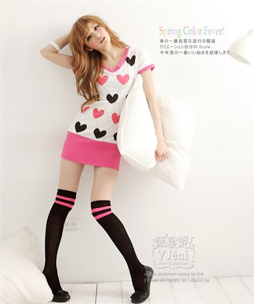 kawaii dress long shirt hearts. I need to look into these things. Long shirts are a must for tall chicks.