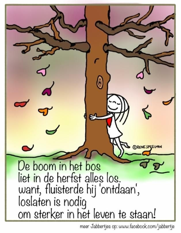 De boom in het bos liet in de herfst alles los want fluisterde hij 'ontdaan' loslaten is nodig om sterker in het leven te staan!