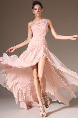 eDressit 2014 New Pink One-Shoulder High Slit Evening Prom Dress(00143601) - USD 168.97