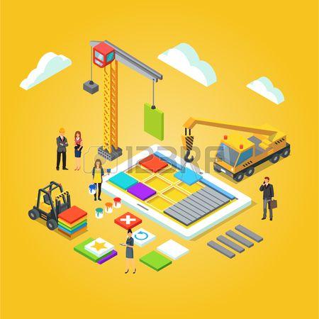 Team van app ingenieurs en hun leider gebouw mobiele app UX interface Applicatie ontwikkeling concep Stockfoto