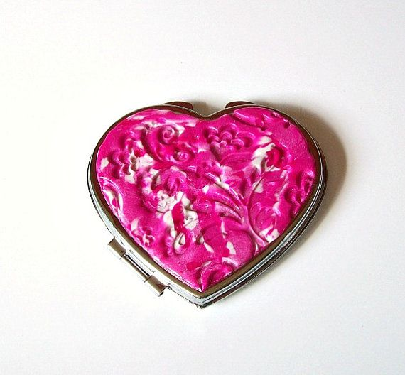 Heart Shape Compact Mirror by VictoriasPolymerArt on Etsy, £7.50