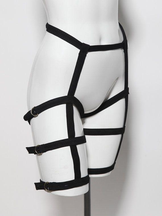 Club d'usure jambe triple noire harnais ceinture par ZEF2DEATH