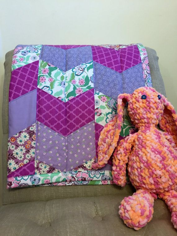 Baby Quilt Modern Baby Girl Quilt Baby Blanket by QuiltingByKatya