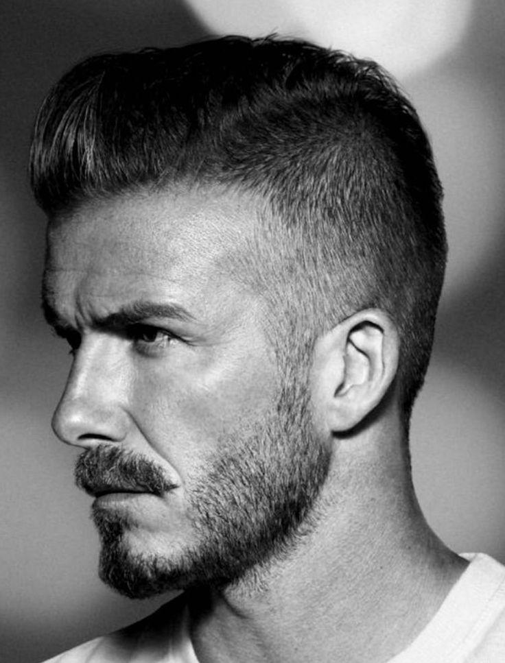coiffure David Beckham pompadour degrade progressif barbe bouc