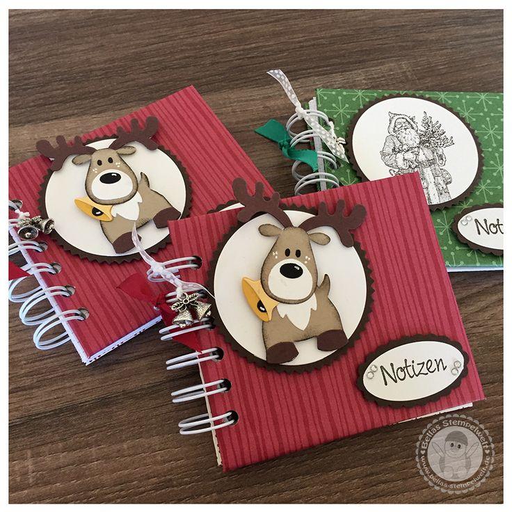 Stampin' Up! -  kleine weihnachtliche Notizbüchlein mit der Cinch - Bellas Stempelwelt - Notizbücher, Ringbücher, Marianne Design Rudi, Nikolaus