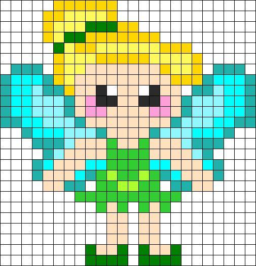 Tinkerbell Perler Bead Pattern | Bead Sprites | Characters Fuse Bead Patterns