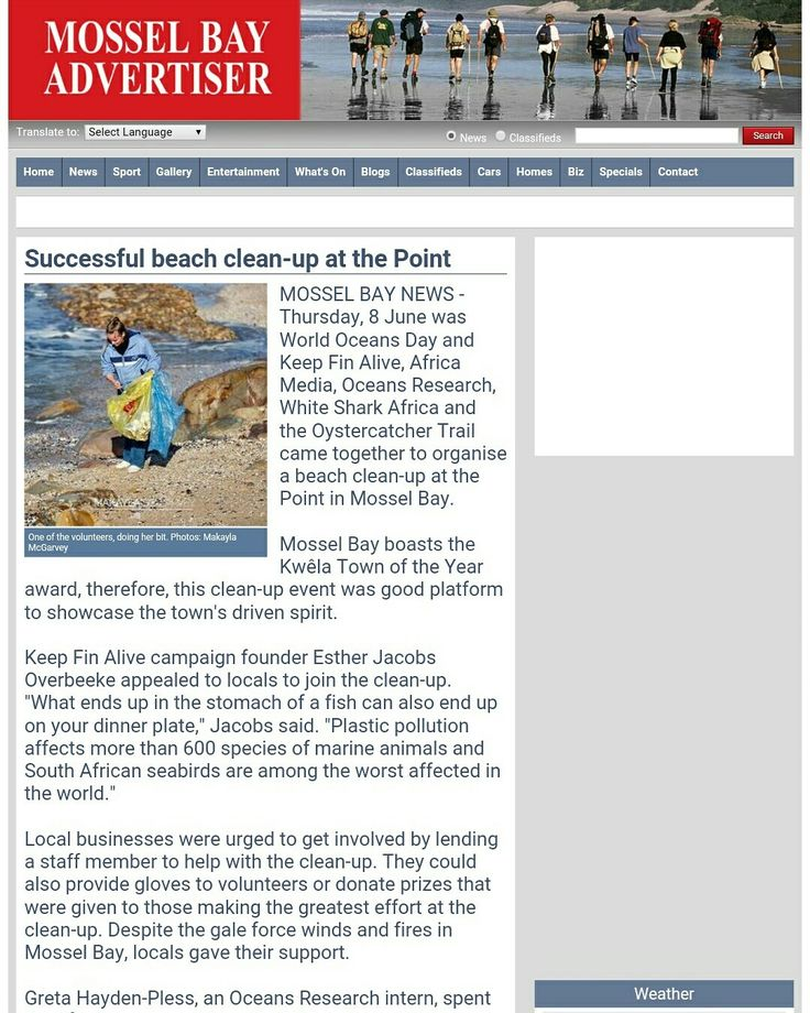 Our environmental journalism and travel writing interns covered the recent big beach clean up event in Mossel Bay. The article was published in the Mossel Bay Advertiser, a popular local newspaper.  Find the full write up here: http://www.mosselbayadvertiser.com/news/News/General/190754/Successful-beach-cleanup-at-the-Point