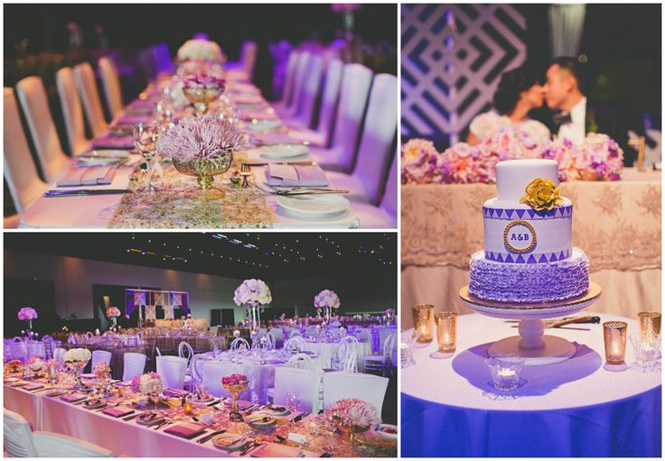 Modern geometric wedding. Purples, gold and pink wedding reception.