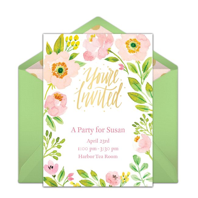 """One of our favorite free party invitations is this beautiful """"Spring Blossoms"""" design. This hand-painted invitation is easy to personalize and send via email for Spring birthdays, dinner parties, bridal showers, and more! #handmade"""