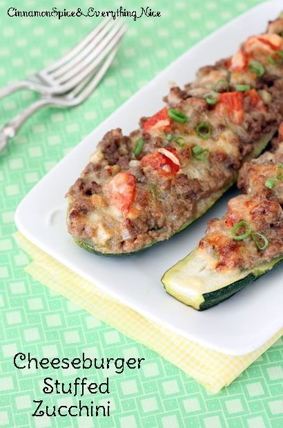Cheeseburger Stuffed Zucchini