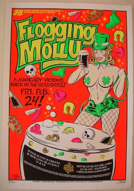 Flogging Molly w/ Scotch Greens and Rolling Blackout - silkscreen concert poster (click image for more detail) Artist: Stainboy Venue: House of Blues Location: Orlando, FL Concert Date: 2/24/2005 Size