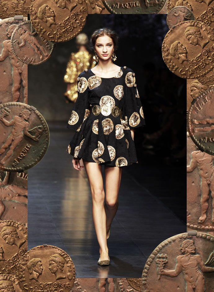 Dolce&Gabbana Womenswear - Coins Print Mini Dress for Spring Summer 2014  -