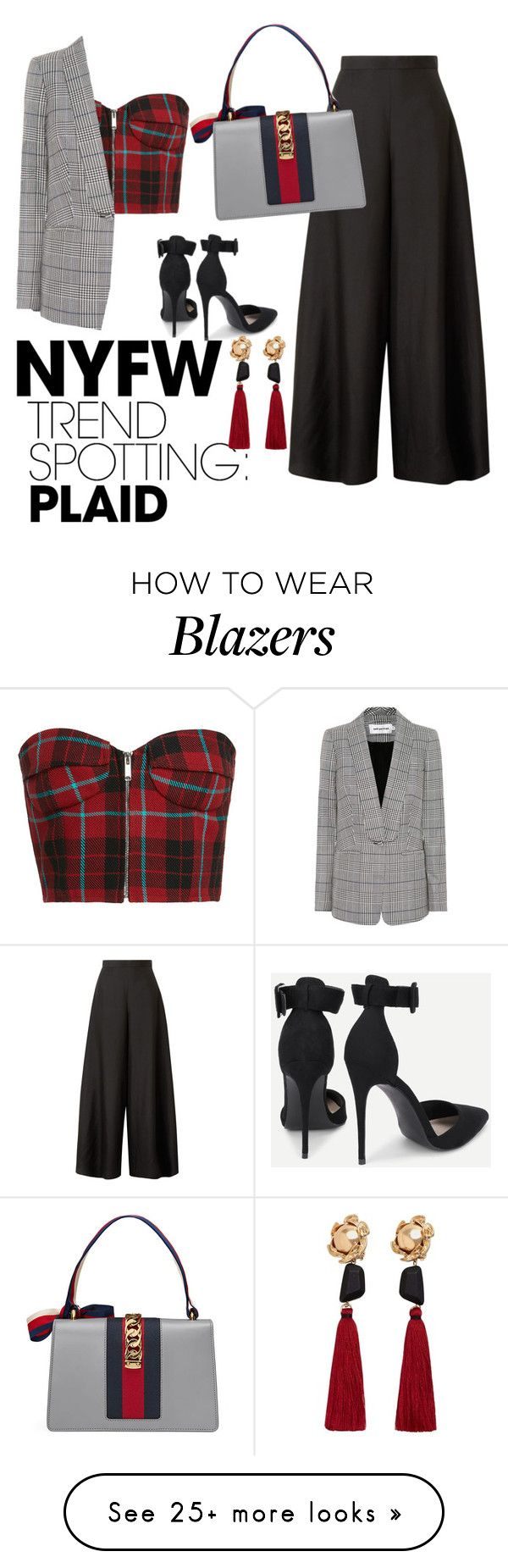 """""""Untitled #138"""" by semaeyvazova on Polyvore featuring self-portrait, The Row, Gucci, MANGO, contestentry and NYFWPlaid"""