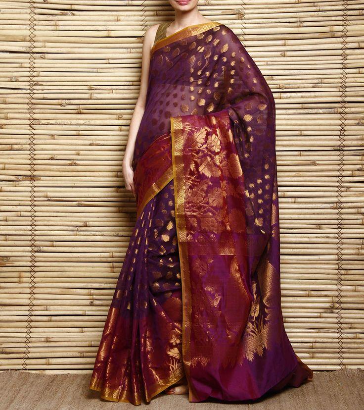 Purple & Magenta Cotton Silk Banarasi Saree