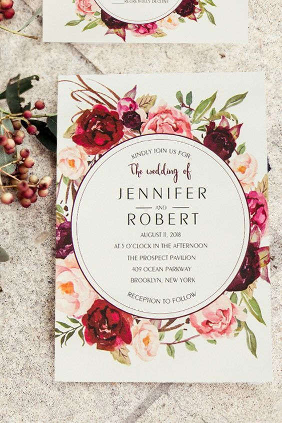 Burgundy Floral Boho Summer and Fall Wedding Invitations EWWS421