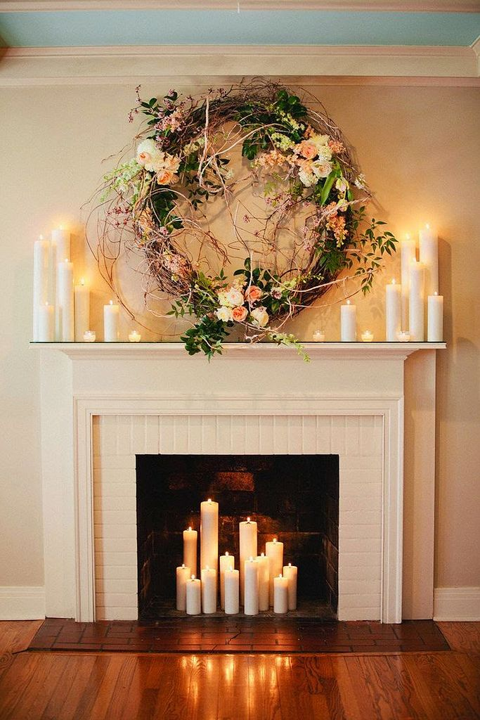 Romantic Holiday Decor Fireplace Wreath Candles