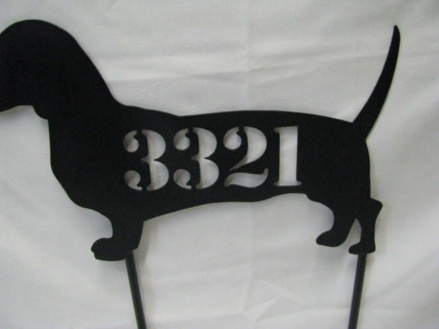 Dachshund Address Sign Metal Dog Yard Art Silhouette. $37.00, via Etsy.