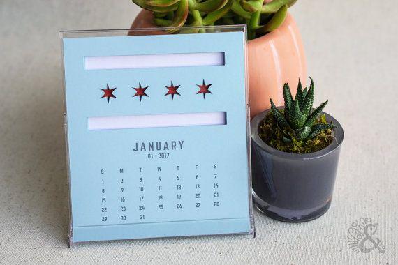 Chicago Calendar 2017  |  Die-cut calendar  |  Jewel Case Calendar  |  CD Case Calendar  |  Desktop Calendar  |  Office Calendar