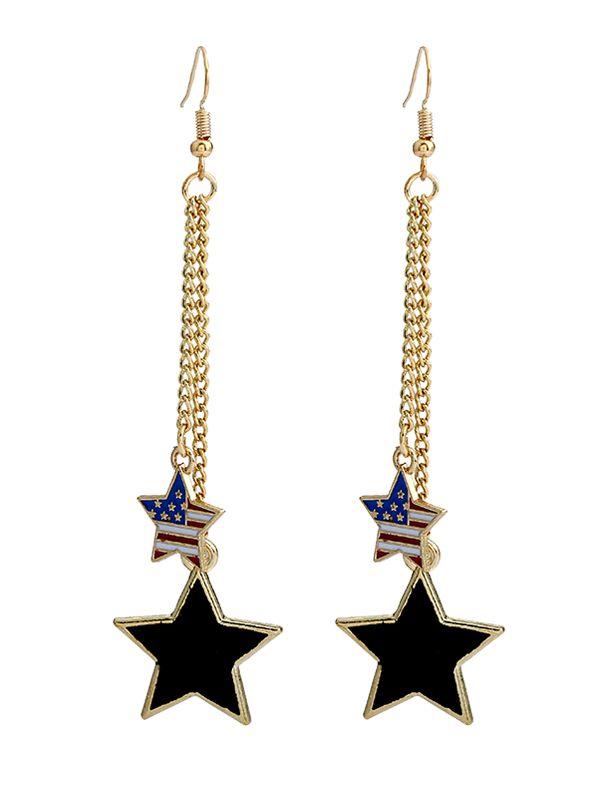 $3.11 Drapeau américain Impression Double Pentagram Boucles d'oreilles