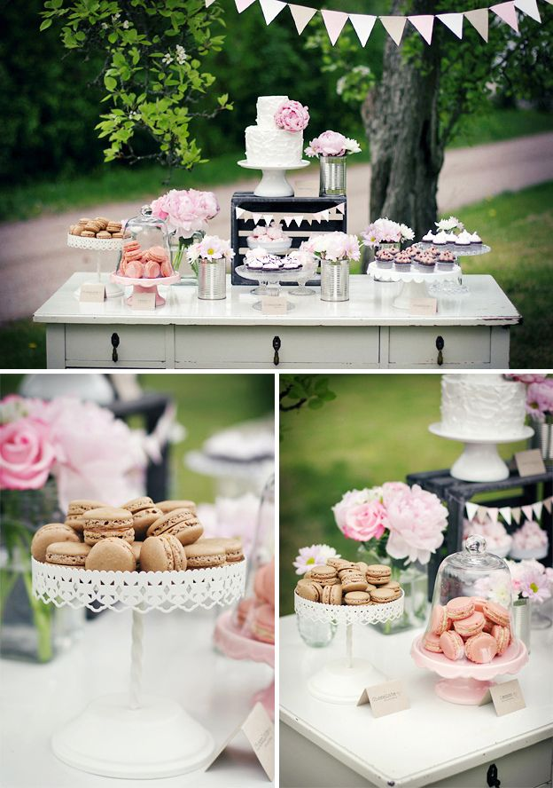 Rustic Dessert Table • by Linda from Call Me Cupcake • http://call-me-cupcake.blogspot.com/2011/06/rustic-pink-dessert-table.html  Cute idea for a shabby chic shower!